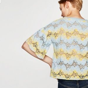 Zara sheer blue yellow lace top bell sleeves Small